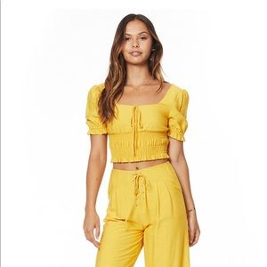 Anthropologie Lost +Wander Yellow Smocked Crop Top